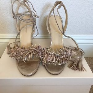 Strappy Tassel Gold Metallic Tie Heels Ivanka